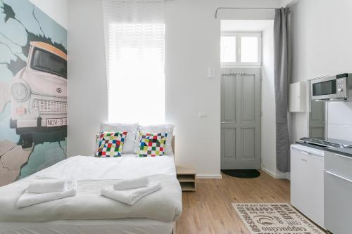 Studio Apartment for 3客房内的一张或多张床位