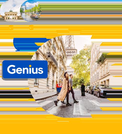 两位Genius会员正在巴黎观光,背景是埃菲尔铁塔